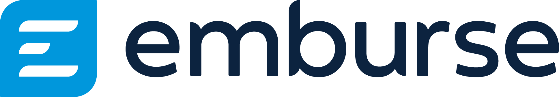 "logo for Emburse in blue with stylized ""E"""