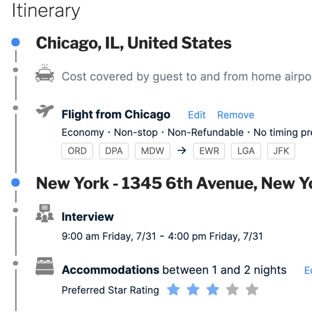 Screenshot of Pana itinerary showing flights, hotel accommodations, and ground transportation arranged for guest traveler