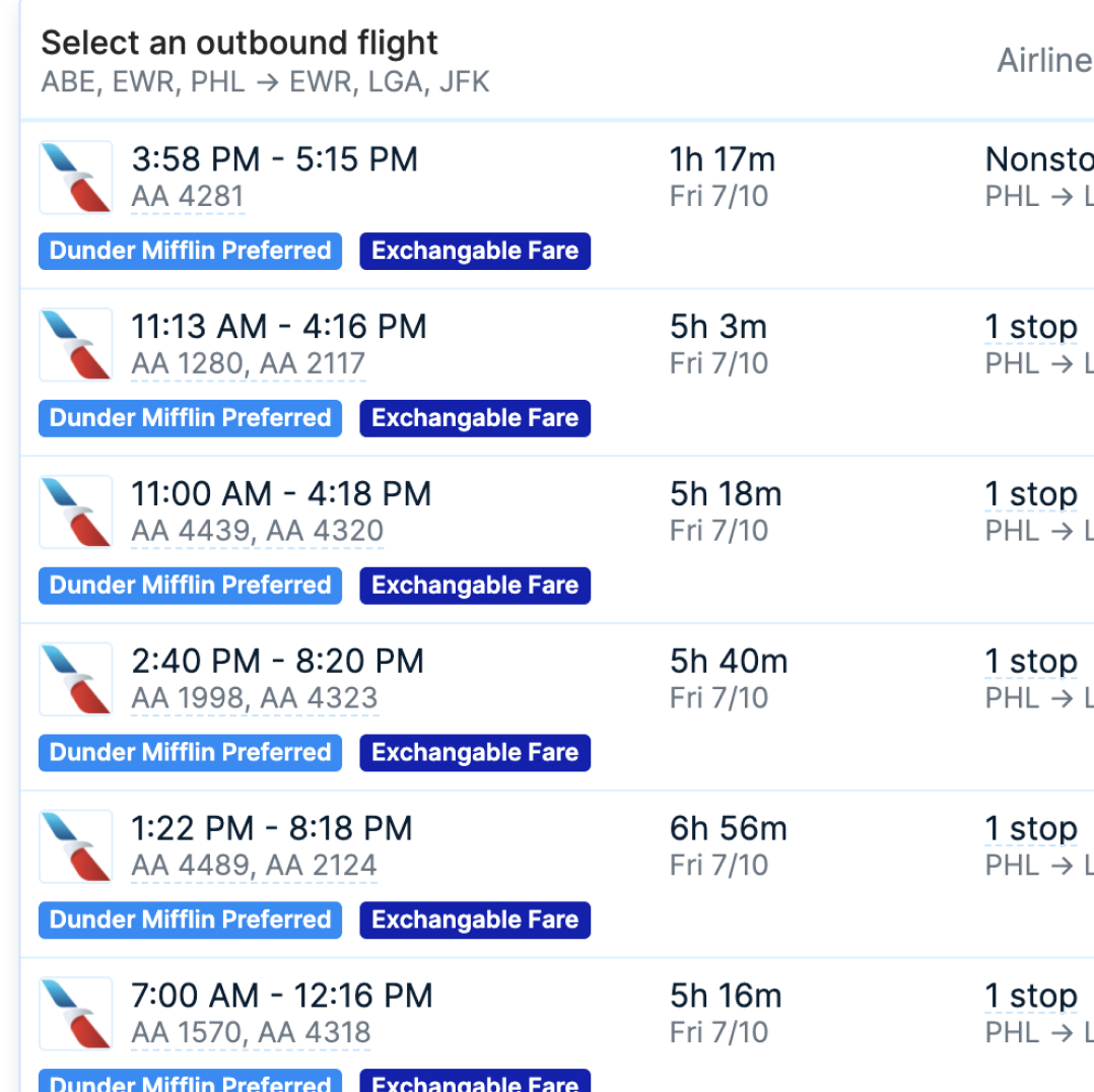 Screenshot of Pana flight options with associated costs for Guest Travel booking