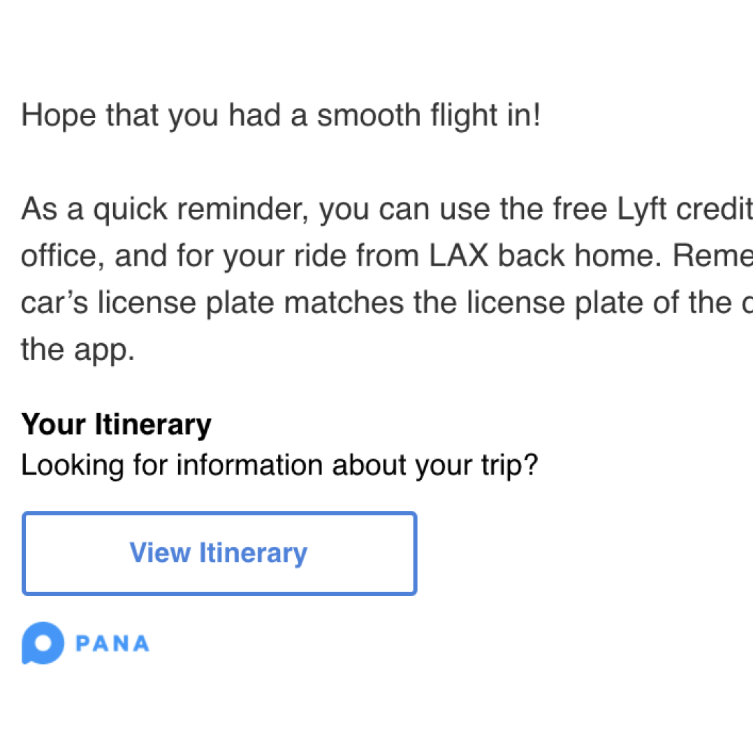 Screenshot of sample traveler support email communication for proactive trip check-in