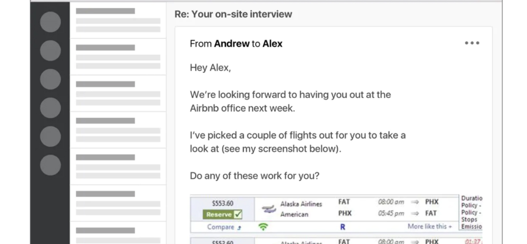 Example of email sent from the travel coordinator to the guest traveler with screenshot of OBT with travel options
