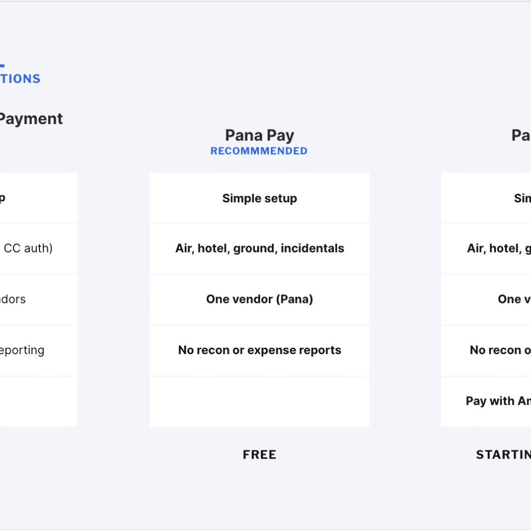 Zoomed in comparison of Pana Pay features