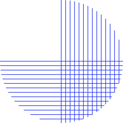 Blue circle shape created with thin horizontal and vertical blue lines