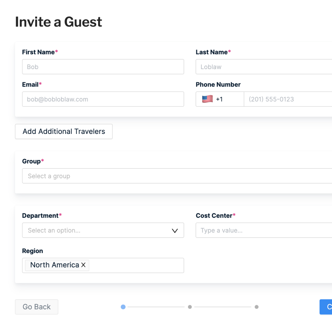 Screenshot of Pana Guest Travel invite showing Guest invite form fields including name, travel dates, and destination