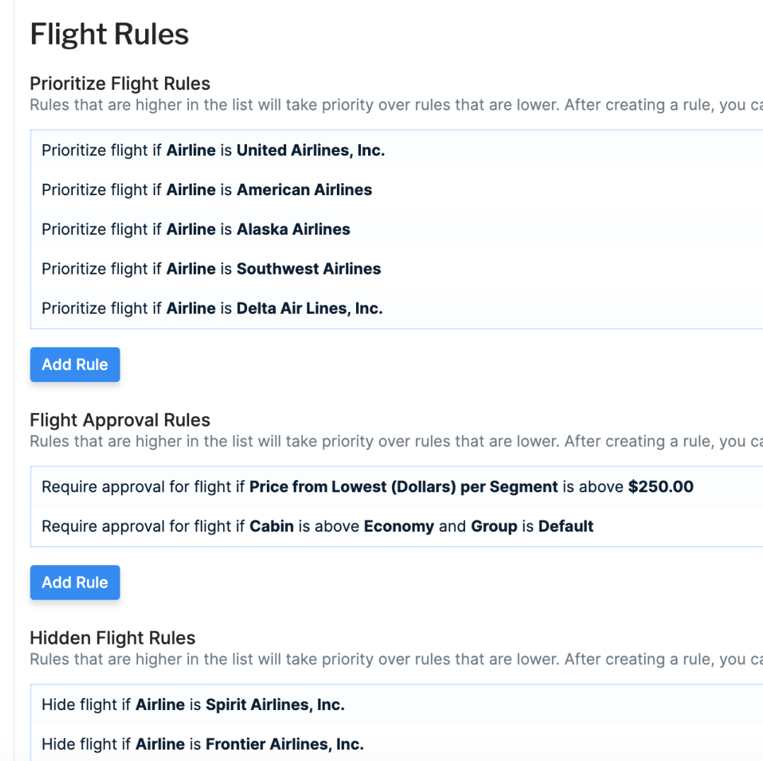 Screenshot of advanced policy rule customization to recreate flight booking  travel policy rules within Pana