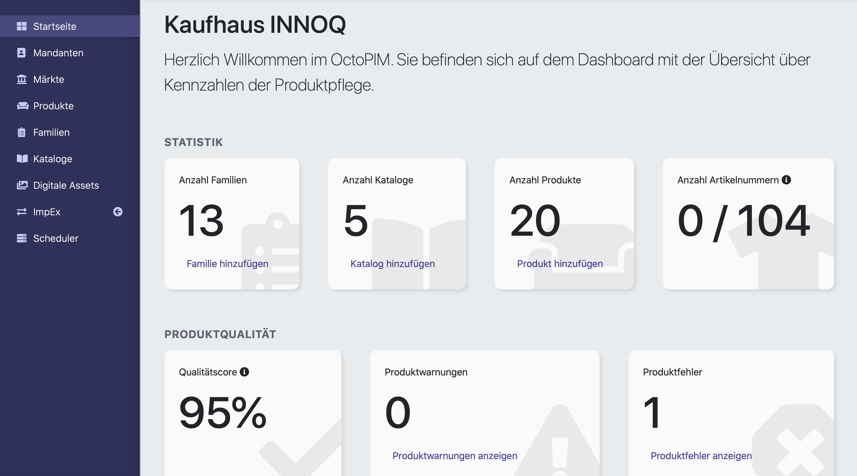 Das Dashboard im OctoPIM. Zu sehen sind das Menü, die Statistik und die Produktqualität.
