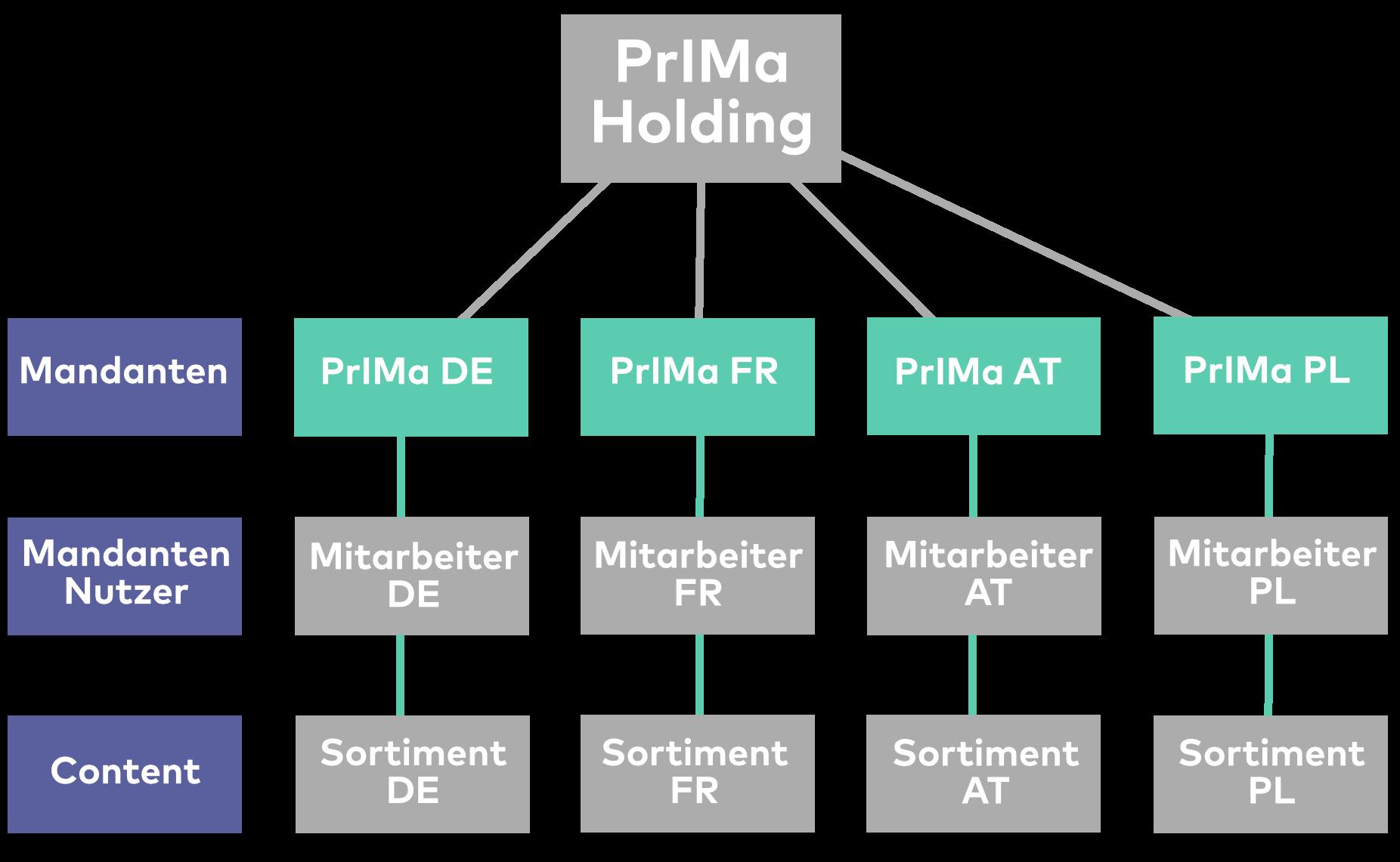 Die Grafik zeigt den Aufbau der PrIMa Holding mit Mandanten, Mandanten Nutzer und Content.