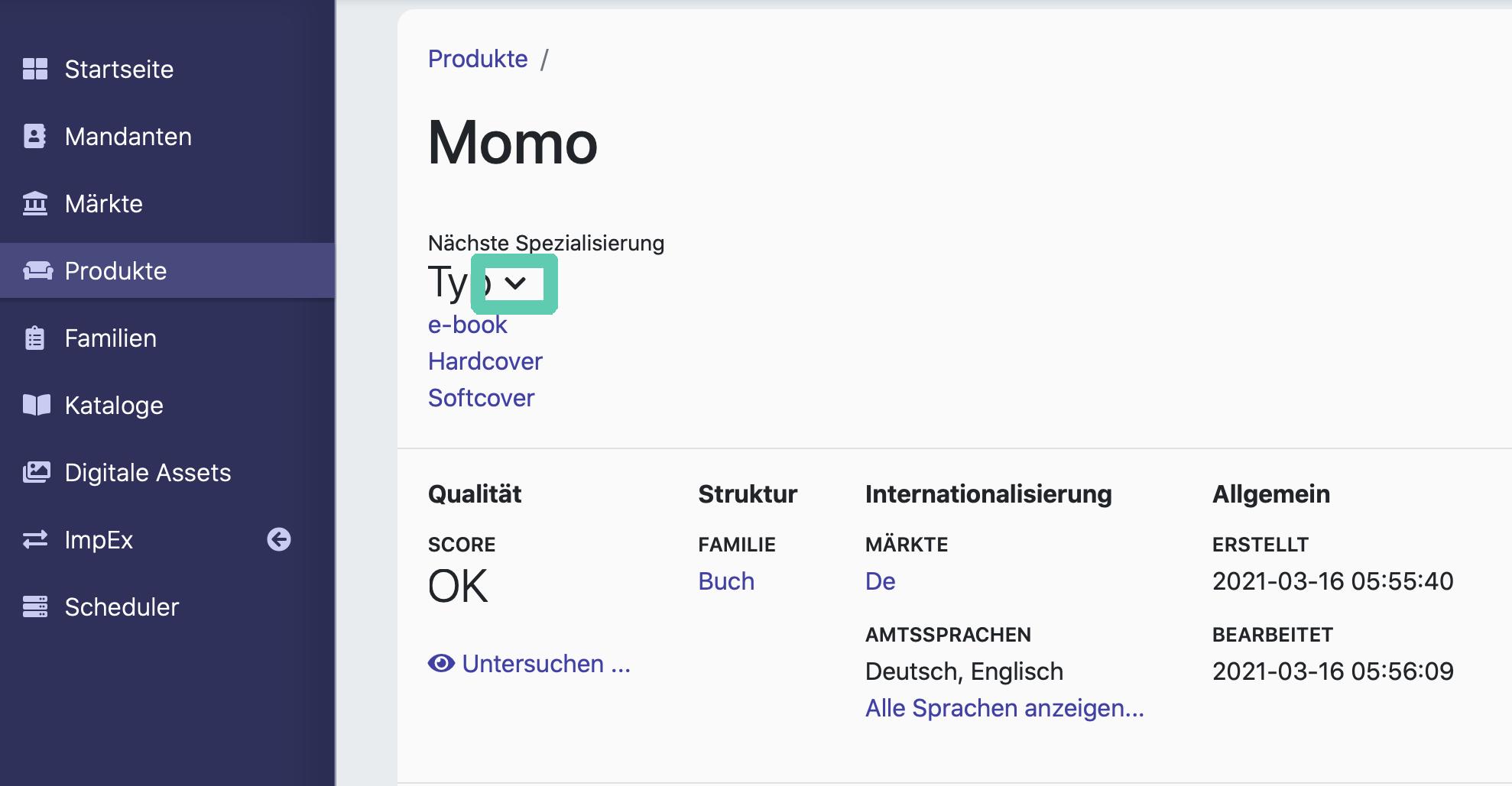 """Eine Übersicht von Spezialisierungen im Produkt """"Momo""""."""
