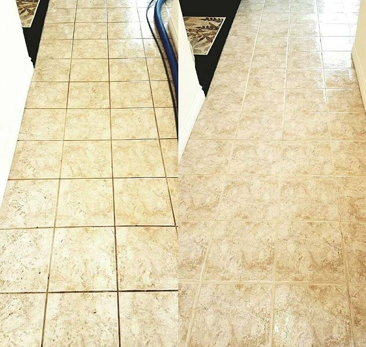 Tile and grout cleaning project before and after in Pasadena, CA