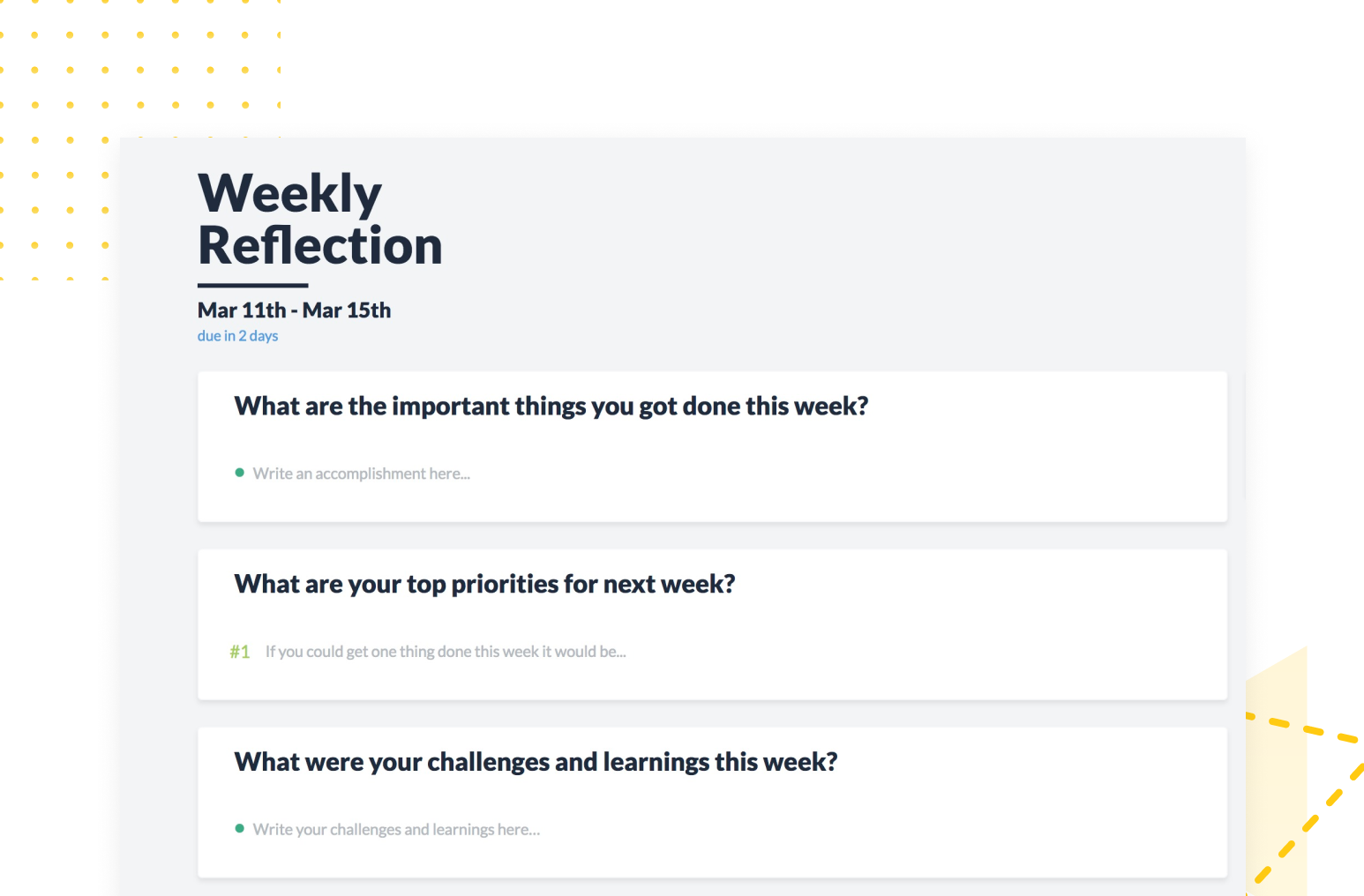 Weekly reflections eliminate status update emails and meetings