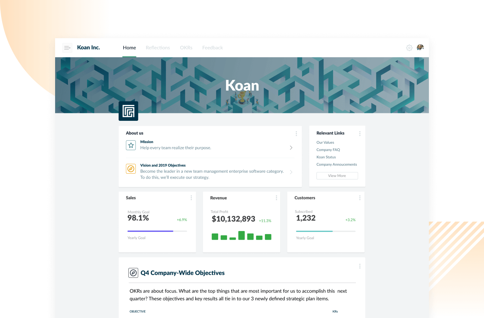 Koan company homepage creates goal alignment across every level in the company.