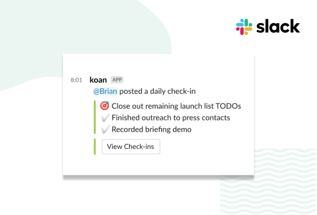 Slack check-ins post