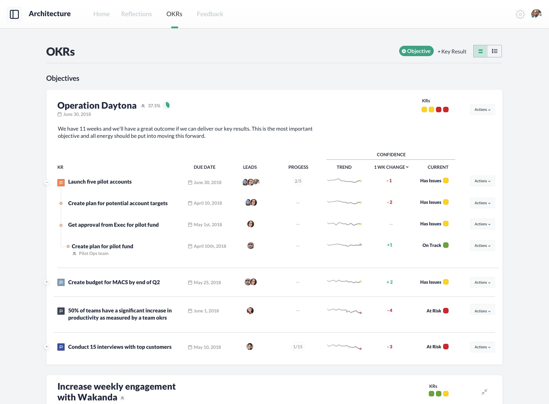 Koan OKR software user interface