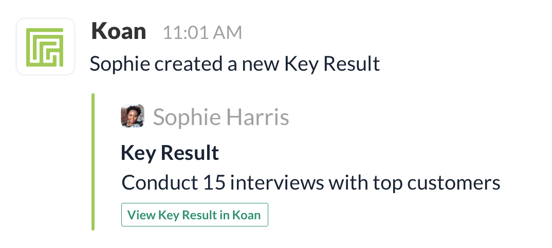 Koan OKR software integrates with slack