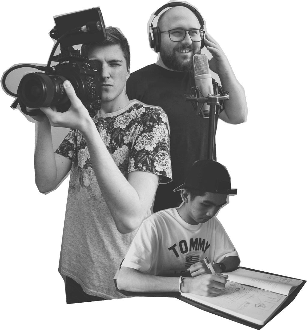 three people showing off videography graphic design and recording service