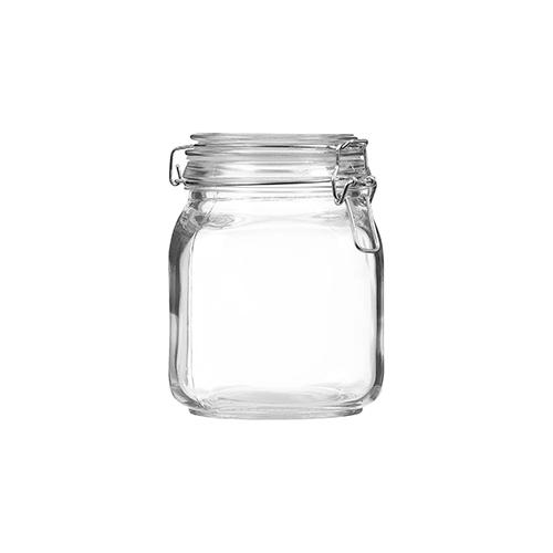 The Reject Shop Clip Top Square Jar 1L
