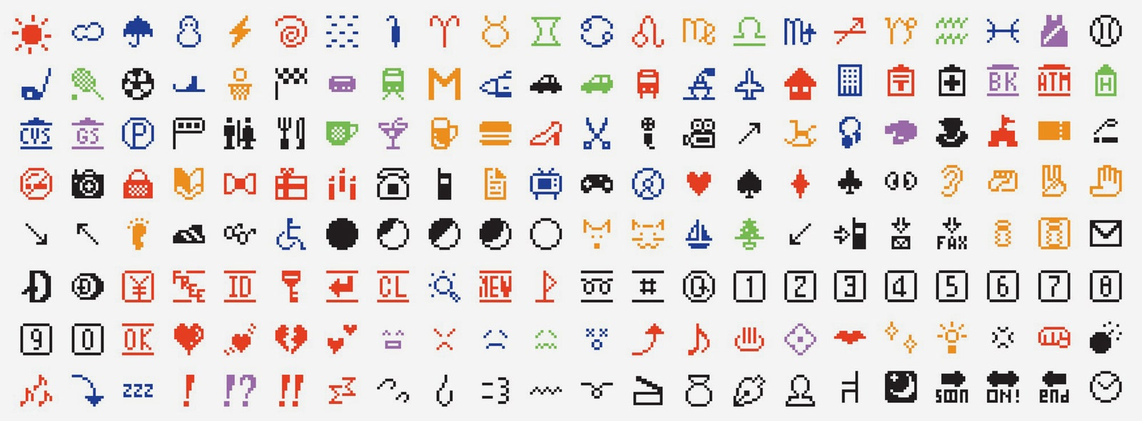 A grid image of the first set of emojis invented by Japanese artist Shigetaka Kurita in 1999