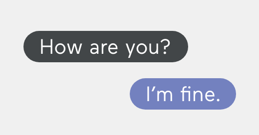 Text message conversation with two texts and no emoji