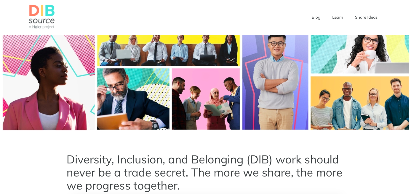 DIB Source Homepage with Photos of Diverse Employees