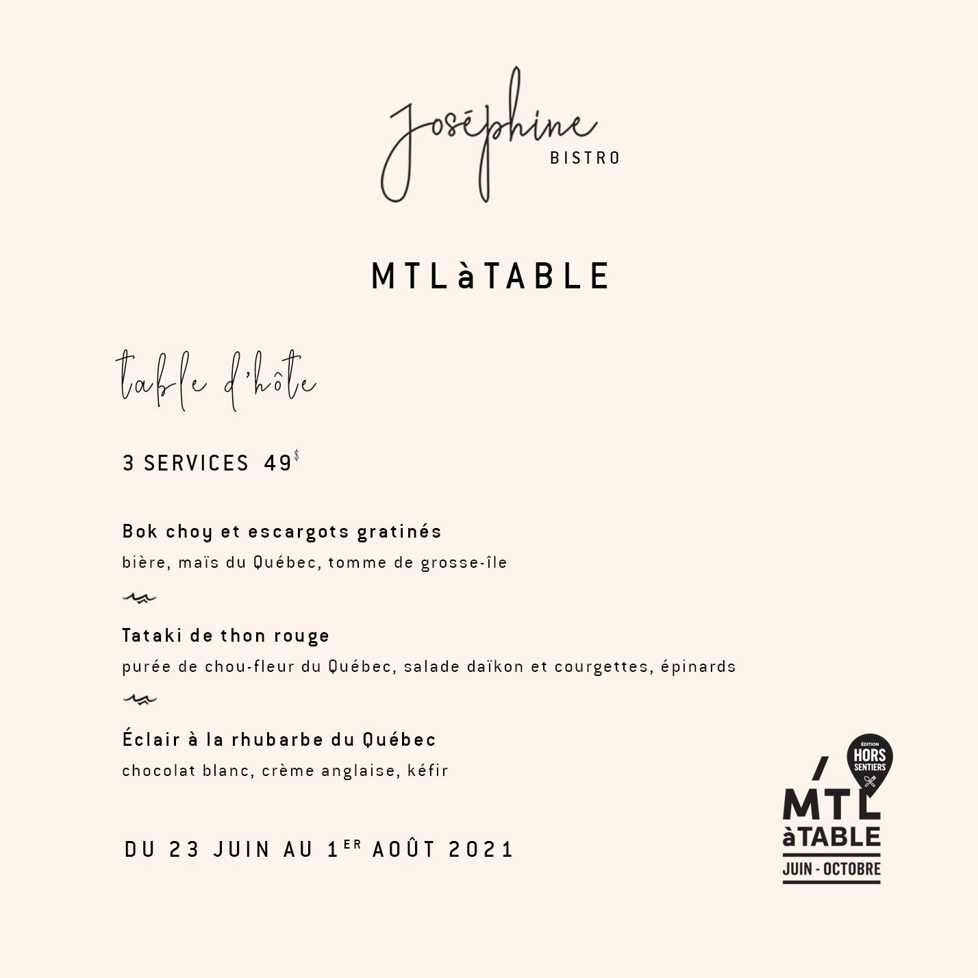 Menu table d'hôte restaurant Joséphine pour MTLàTABLE