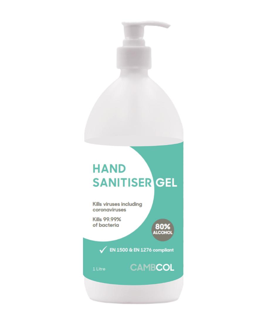 Cambcol 80% Alcohol Hand Sanitiser 1Ltr (Gel)
