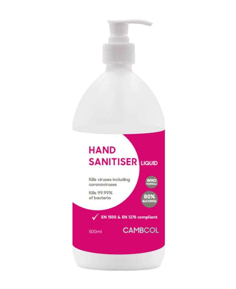 Cambcol 80% Alcohol Hand Sanitiser 500ml (Liquid)