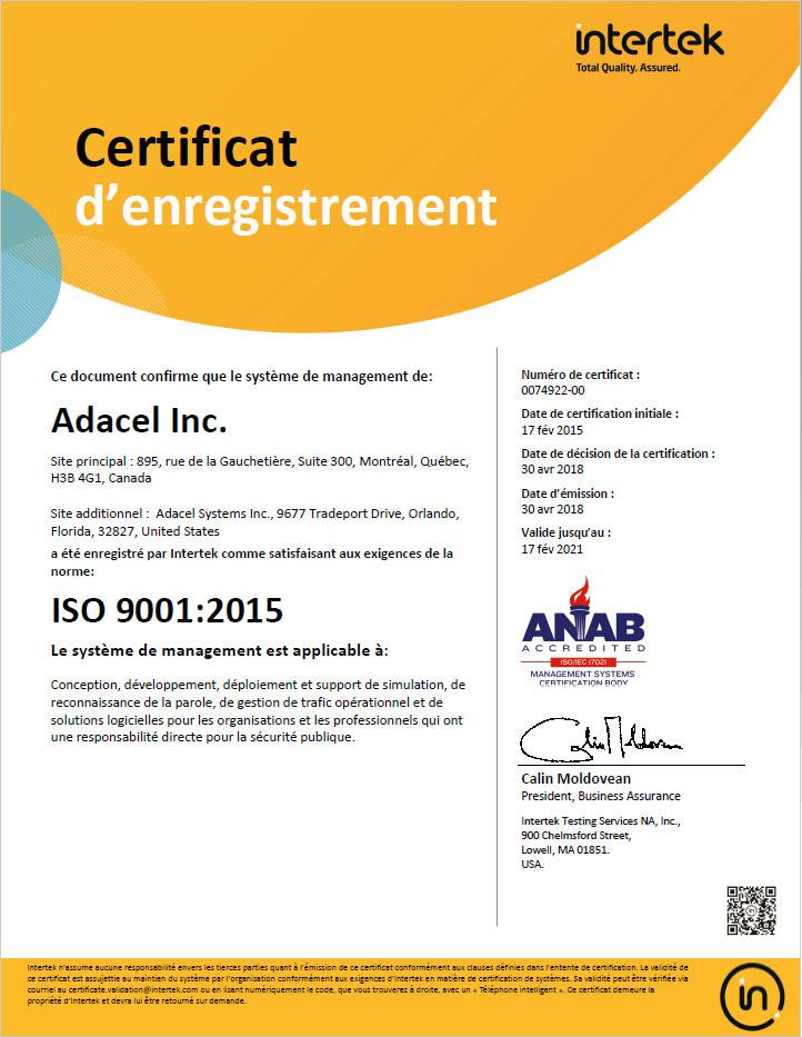 ISO 9001:2015 Adacel certificat