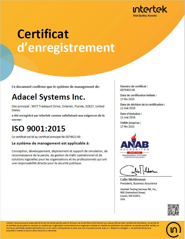 ISO 9001:2015 Adacel certificat-Orlando