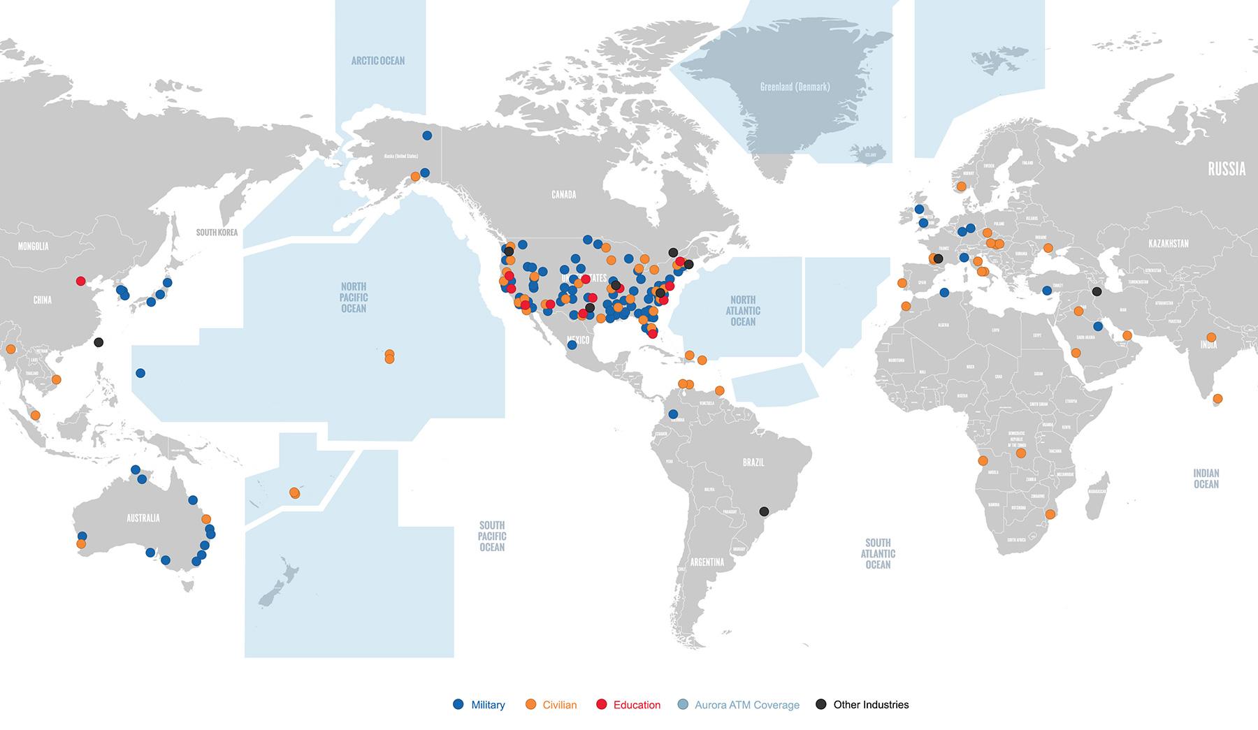 Adacel's Global Footprint of MaxSim ATC and Aurora ATM solutions