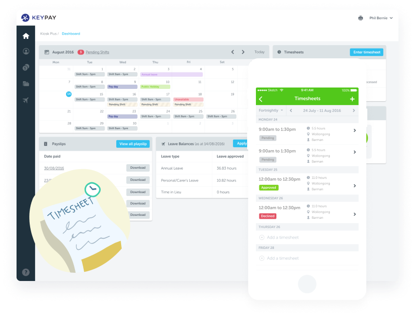 KeyPay's timesheet app and time clocking