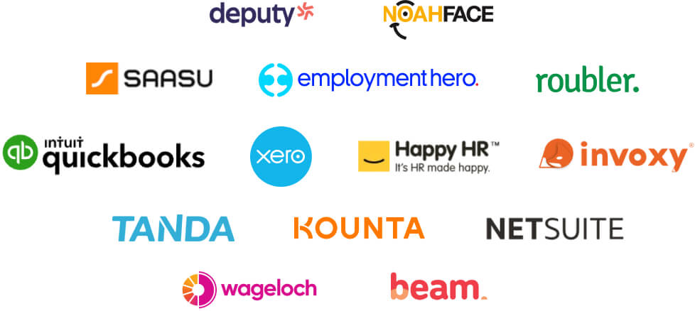 KeyPay accounting & workforce management integrations logos