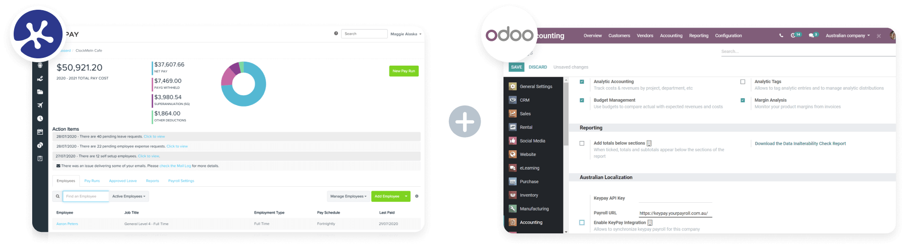 KeyPay and Odoo dashboards
