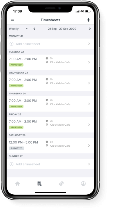WorkZone app on iOS smartphone, allows users to view, create and delete timesheets.