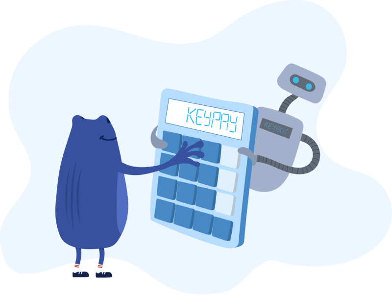 Bertie and KeyBot using a KeyPay calculator