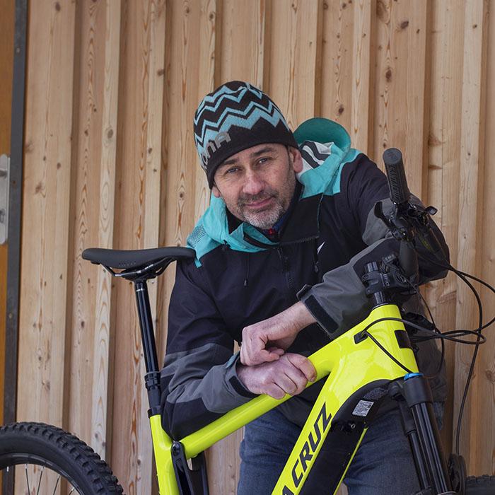 Company owner Richard Watts with a bike