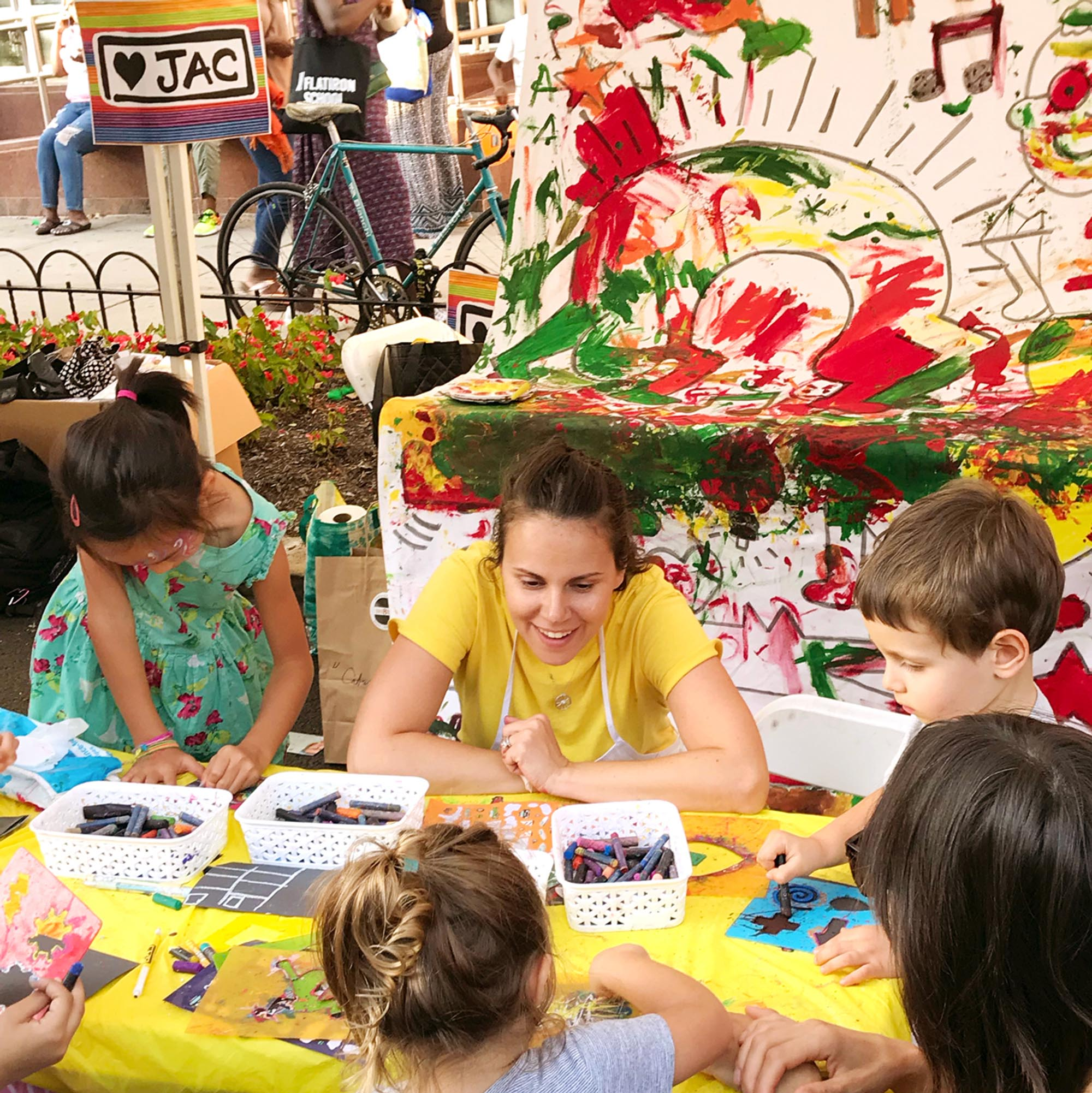 chlidren painting as a group