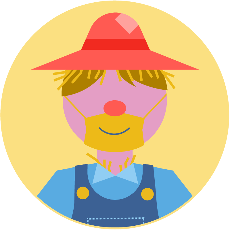 Illustration of a scarecrow costume