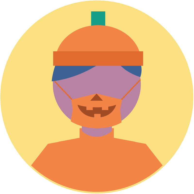 Illustration of a jack o lantern costume