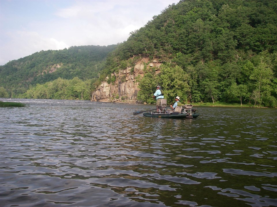 Boat fishing on the river