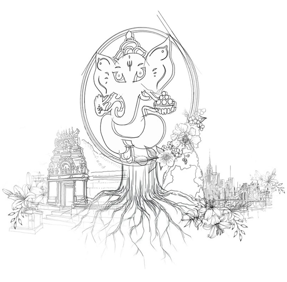 a ganesha graphic with tempel