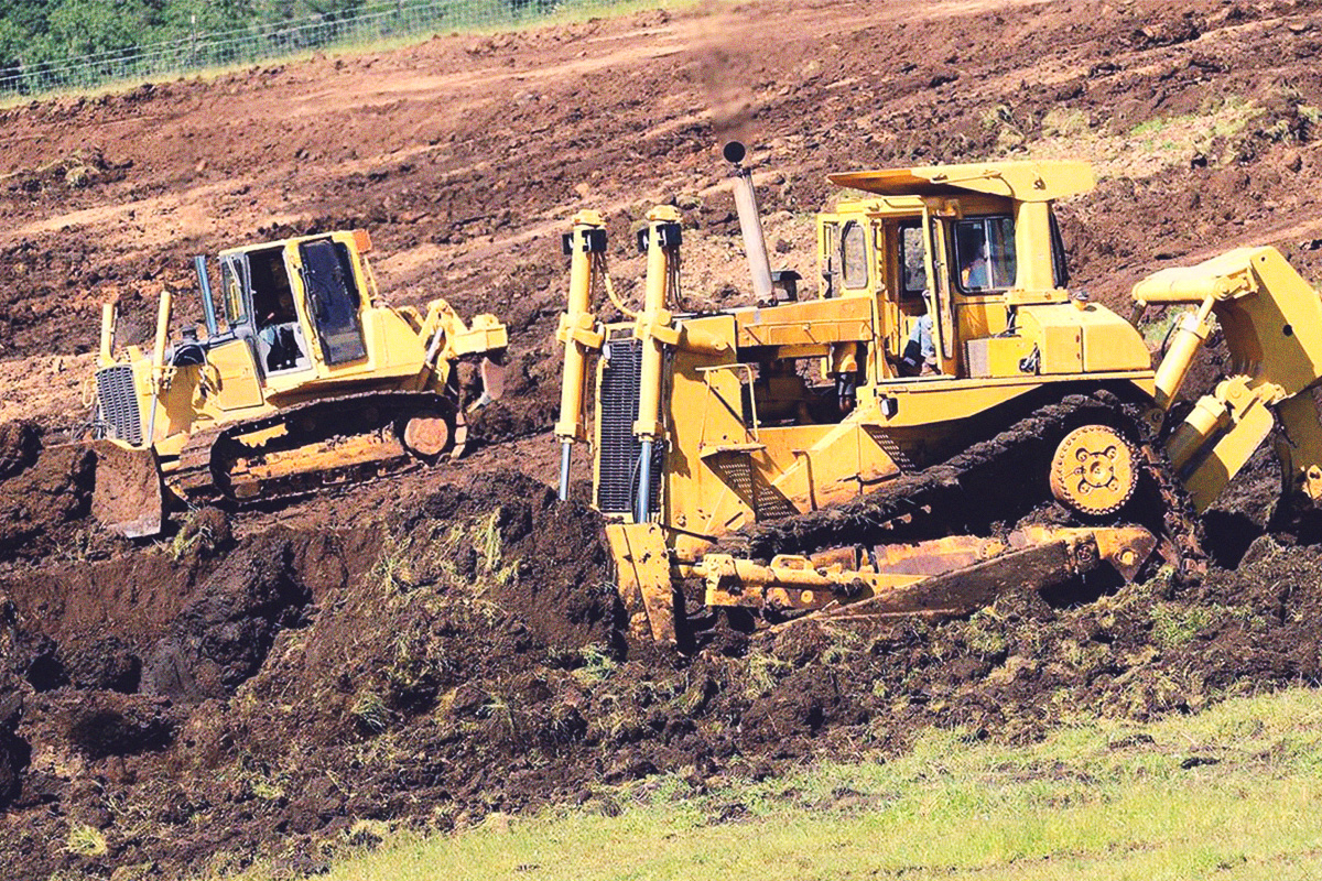 Bulldozers working on grading job in Summerland, BC.