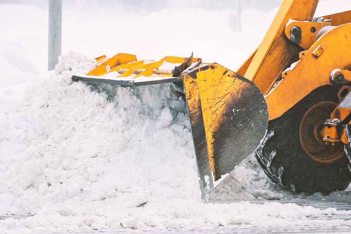 Front loader at work in Peachland, BC, on snow removal job.