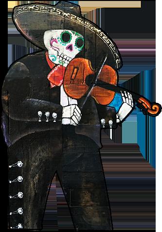 Skeleton playing fiddle