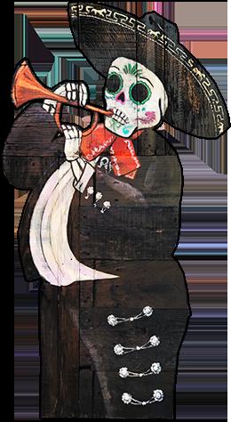 Skeleton playing trumpet