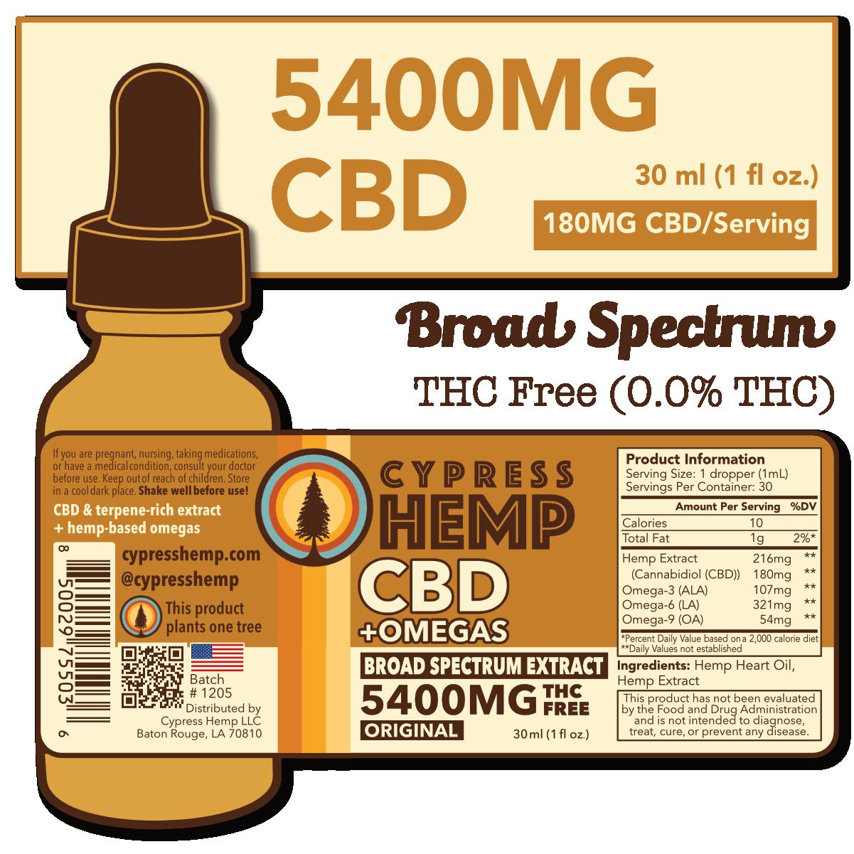 Cypress Hemp Broad Spectrum 5400mg CBD Drops