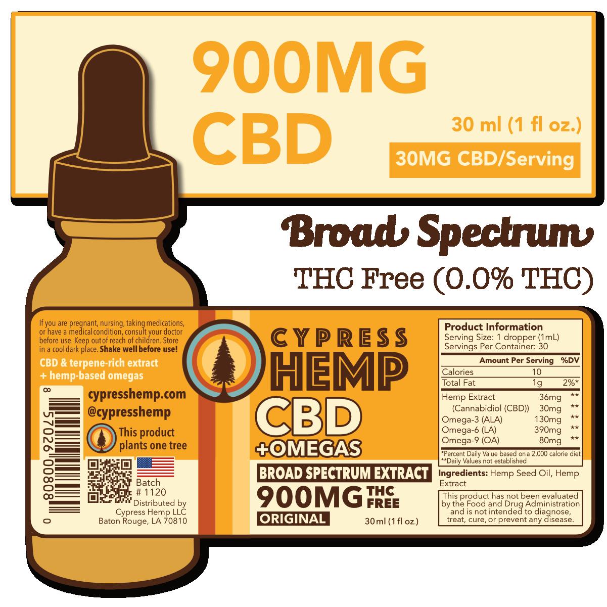 Cypress Hemp Broad Spectrum 900mg CBD Drops