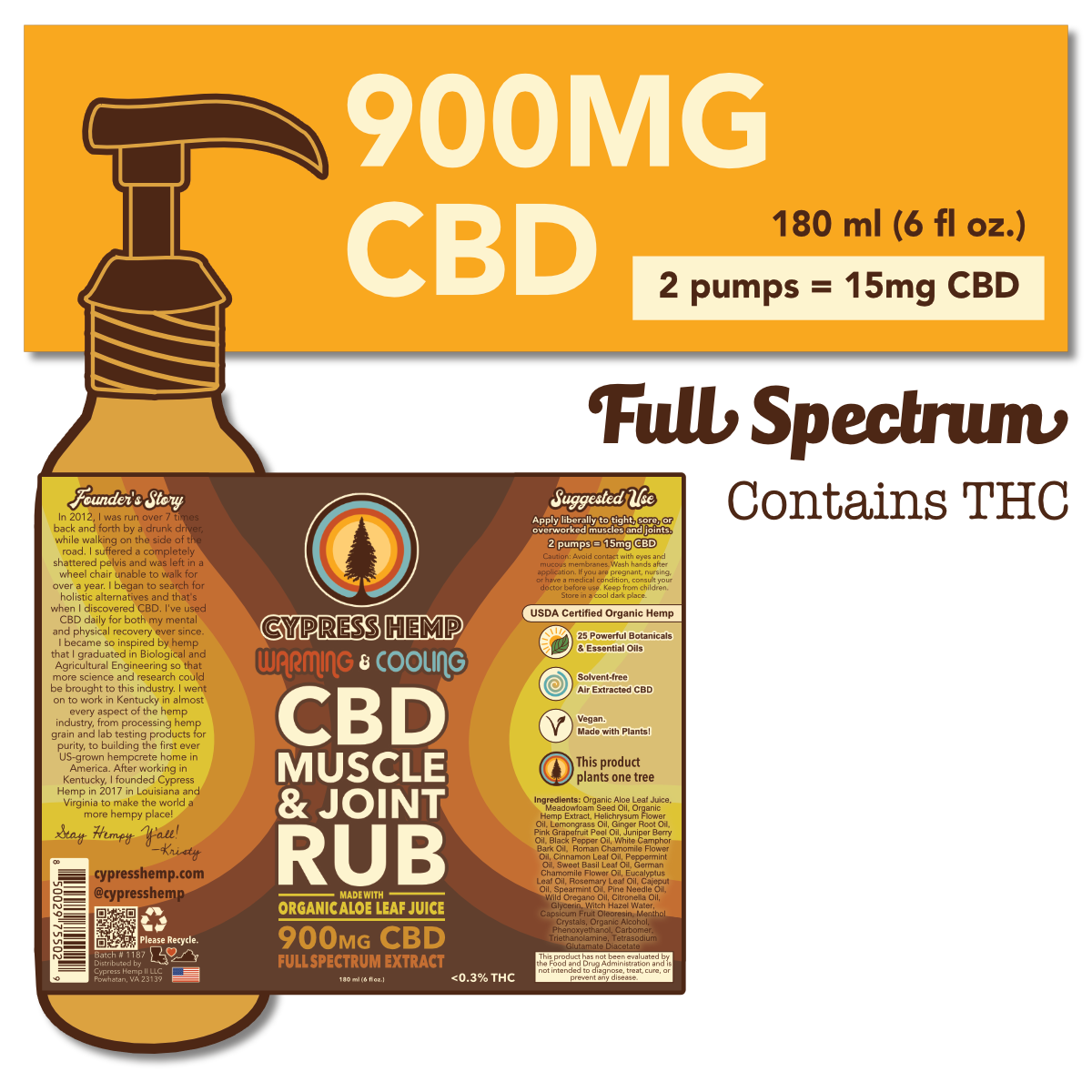 Cypress Hemp Full Spectrum 900mg CBD Muscle & Joint Rub