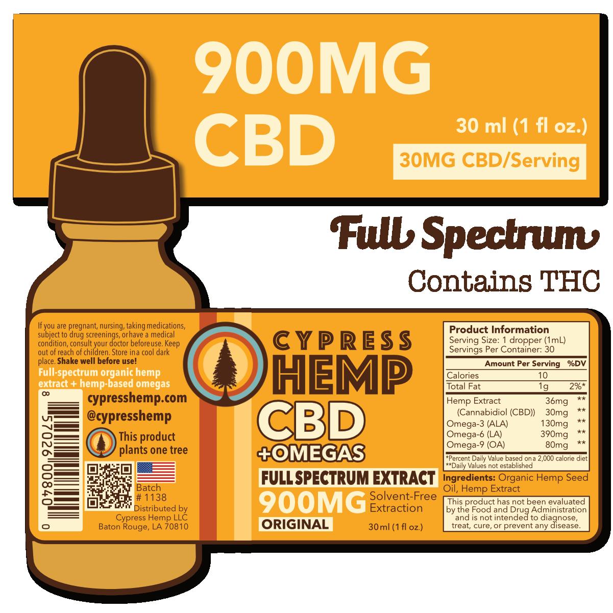 Cypress Hemp Full Spectrum 900mg CBD Drops