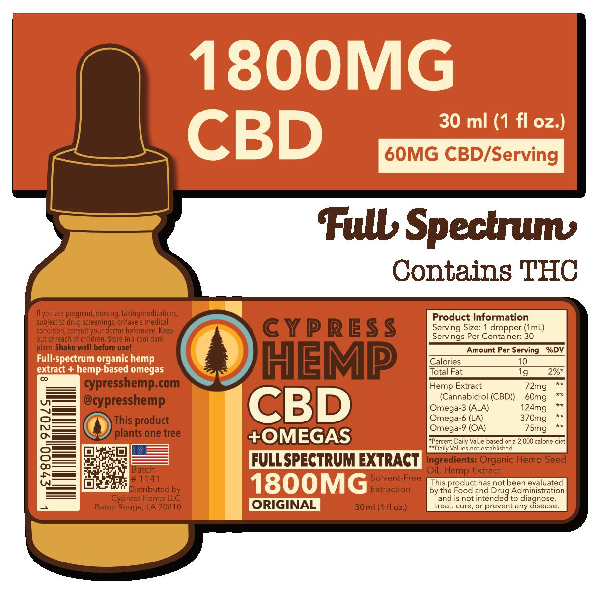 Cypress Hemp Full Spectrum 1800mg Drops