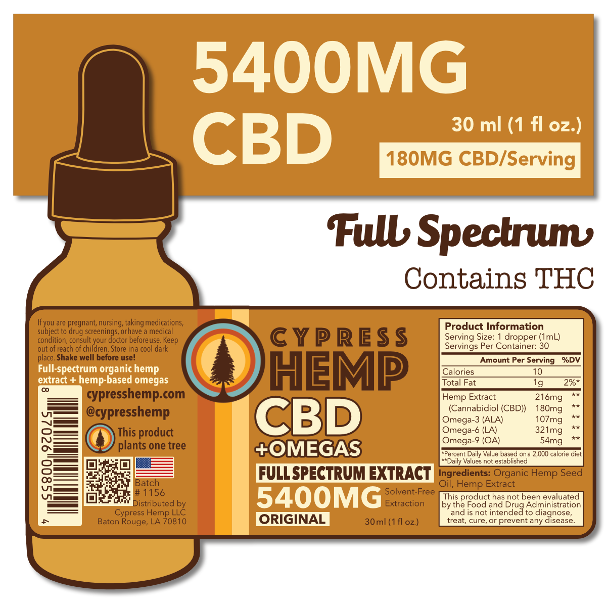 Cypress Hemp Full Spectrum 5400mg Drops